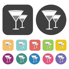 Wine glasses icon. Wedding, bride and groom, love, celebration i