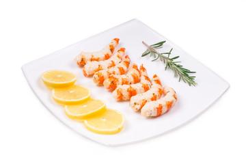 Boiled shrimps on plate.