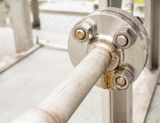 Stainless flange with bolts nuts in outdoor gas supply system