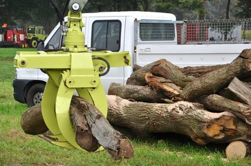 Brennholz wird verladen