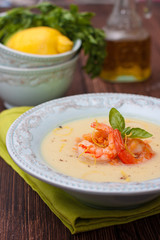 vegetable soup puree with red lentils and shrimp