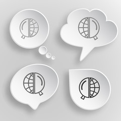 Globe and magnifying glass. White flat vector buttons on gray ba