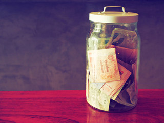 money in bottle vintage color tone