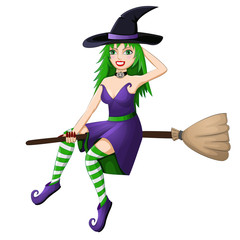Beautiful green haired witch flying on a broomstick