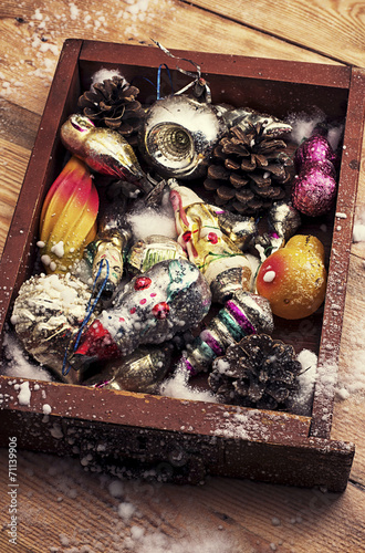 Christmas Decorations In The Old Wooden Box Stock Photo And Royalty Cool Decorating With Old Wooden Boxes