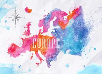 Spoed Foto op Canvas Wereldkaart Watercolor Europe map pink blue