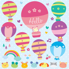 Animals hot air balloon illustration