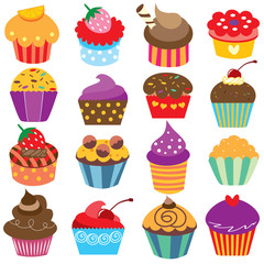 cute cupcakes clip art set