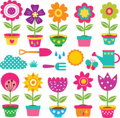 flower pots and gardening tools clip art set