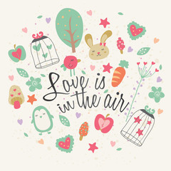 love is in the air greeting card design