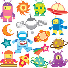 outer space and robot clip art set