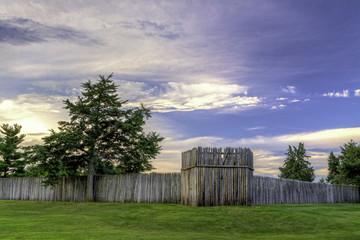 Fort Kearny log fence at sunrise