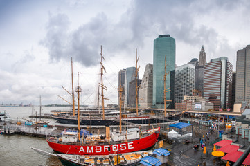 NEW YORK CITY - JUNE 10, 2013: South Street Seaport and Pier 17