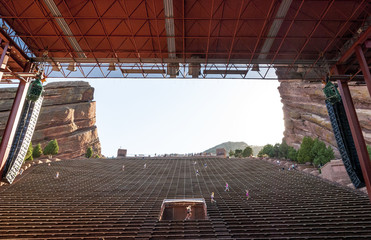 People exercising at a Colorado amphitheater