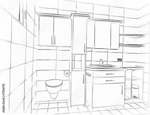 skizze badezimmer stockfotos und lizenzfreie bilder auf bild 71156701. Black Bedroom Furniture Sets. Home Design Ideas