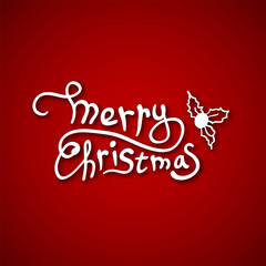 Beautiful text design of Merry Christmas on red color background