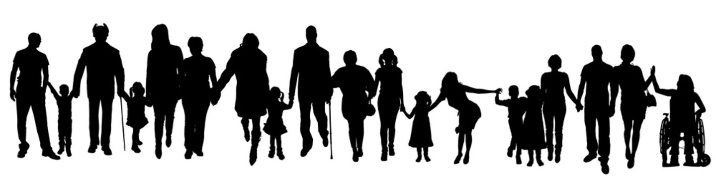 Vector silhouette of a group of people.