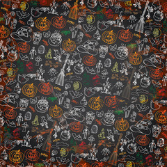 Halloween icons pattern background.Doodles sketchy chalkboard