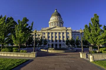 Fototapete - Utah state capital courtyard morning