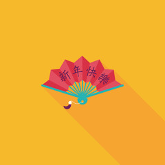 Chinese New Year flat icon with long shadow,eps10, Folding fan w