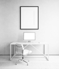 Workplace with picture template in white room