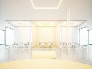 White office space with meeting rooms
