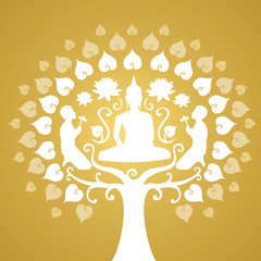 buddha silhouette, Buddhism and bothi tree