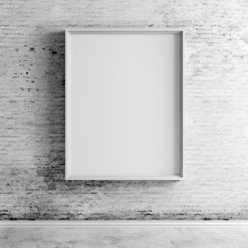 3d blank boards on white vintage brick wall