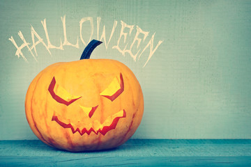 Pumpkin lantern with Halloween greeting