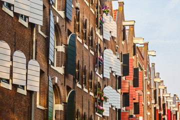 Ancient warehouses in the city of Amsterdam