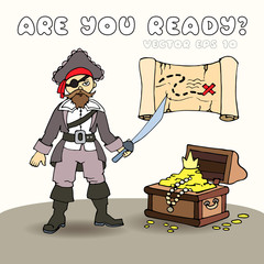 Illustration with pirate, treasure map and chest