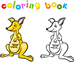 Funny cartoon kangaroo coloring book