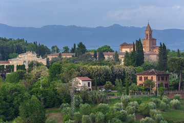 Fototapete - Hill Village in Siena,Tuscany, Italy