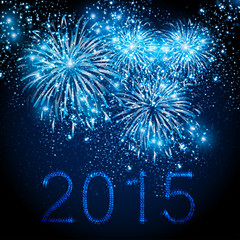 Happy New Year 2015 fireworks background, easy editable