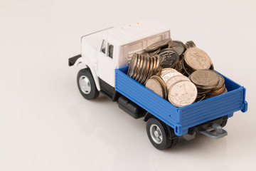 toy truck with coins two