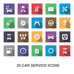 Car service icons with shadow.