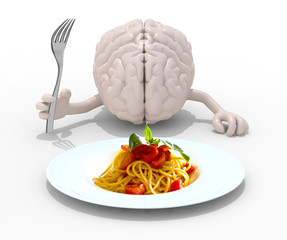 brain with hands, fork in front of a spaghetti dish