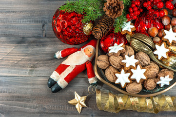 christmas cookies and walnuts with vintage decorations