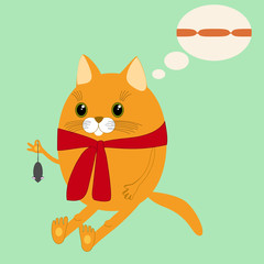 Image ginger cat in a scarf