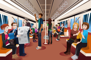 Different people inside crowded subway