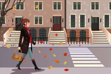 Stylish girl walking in New York city