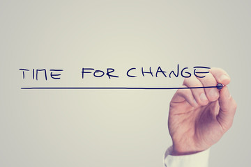 Hand Writing Time for Change Phrase