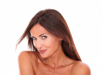 Sexy hispanic female smiling at camera