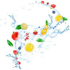 Wall Murals Splashing water Fresh fruit, berries and green leaves with water splash,
