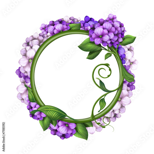round floral frame, blank banner template, purple flowers