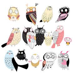 Canvas Prints Owls cartoon set of different owls