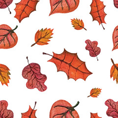Vector Watercolor autumn Leaves seamless pattern.Red