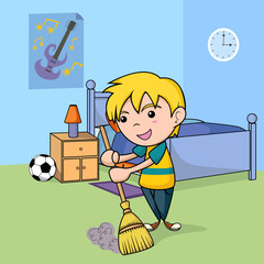Child cleaning the bedroom, vector illustration