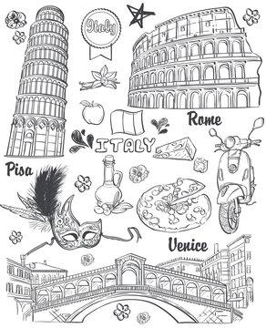 Italy, architecture, food, transportation, items. black contour