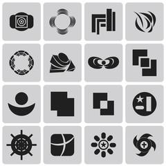 geometric figures Black icons set. Vector Illustration eps10